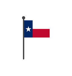 texas flag with pole icon isolated on white vector image