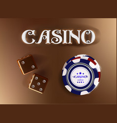 Top view of casino sign poker chips dice on vector