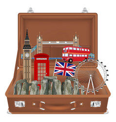 travel bag open with england landmark inside vector image