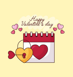 Valentines day celebration with heart padlock and vector