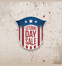 Veterans day sale shield on grunge background vector