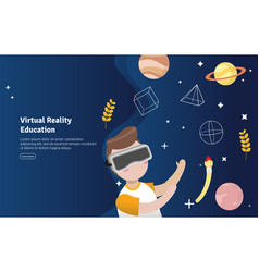 Virtual reality education concept educational and vector