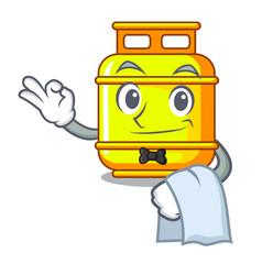 Waiter creative in gas cartoon tank container vector