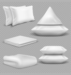 White realistic pillows and blankets isolated vector