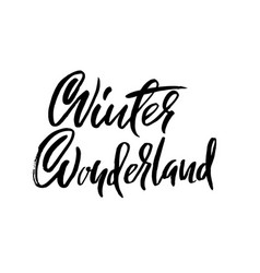 Winter wonderland handwritten modern brush vector