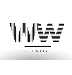 Ww w black and white lines letter logo design vector