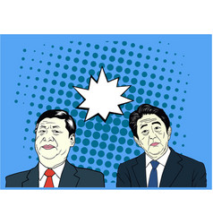 Xi jinping and shinzo abe pop art flat design vector