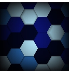 Abstract blue background with hexagons and shadows vector image