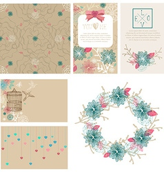 Floral cards collection for Valentines day design vector image
