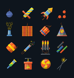 pyrotechnics for holidays and different tools for vector image vector image