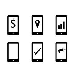 set mobile marketing on white background make vector image