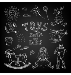 Chalkboard toys for girls and boys vector image vector image