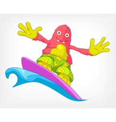 Funny Monster Surfing vector image