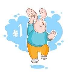 Jumping rabbit is the winner vector image vector image