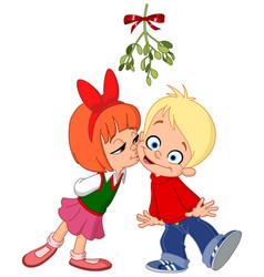 kids kissing under mistletoe vector image