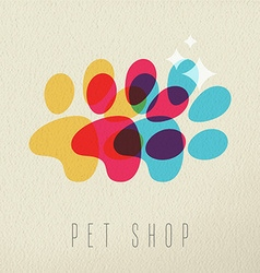 Pet shop color dog paw concept vector image vector image