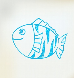 Sketch line drawing fish vector image