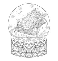 zentangle snow globe with sledge Christmas tree vector image vector image