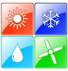 button set with drop sun snowflake and fan vector image vector image