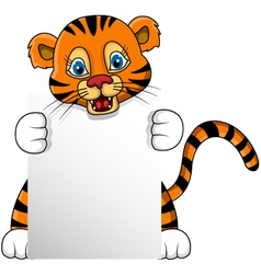 cute young tiger cartoon with blank sign vector image