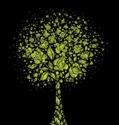 grunge tree symbol from flowers vector image vector image
