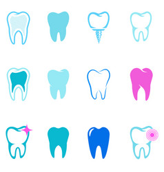 set of tooth icons stomatology design elements vector image
