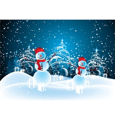 snowmen in christmas landscape vector image