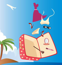 vacation-with-woman-suitcase vector image vector image