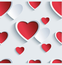 Valentines day seamless pattern with 3d hearts vector image vector image