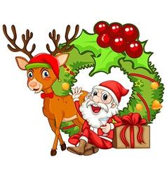 Christmas theme with Santa and reindeer vector image vector image