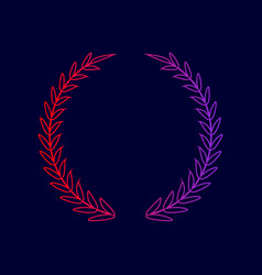 laurel wreath sign line icon with vector image