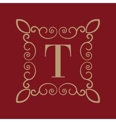 Monogram letter t calligraphic ornament gold vector