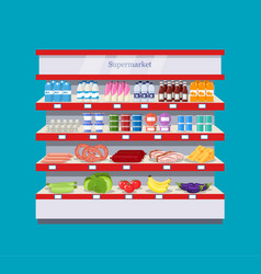 supermarket interior shelf vector image