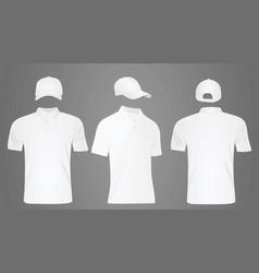 white baseball cap and polo t shirt vector image vector image
