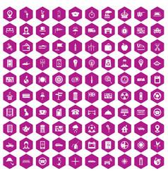 100 taxi icons hexagon violet vector