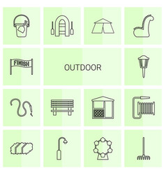14 outdoor icons vector