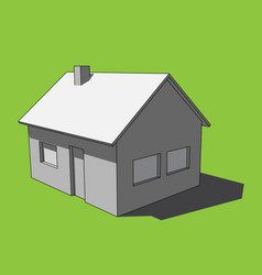 3d image - grayscale simple isolated house vector image