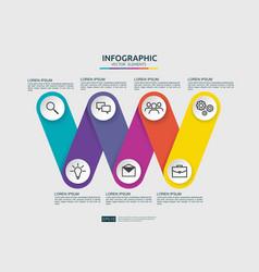 6 steps connection infographic element design vector