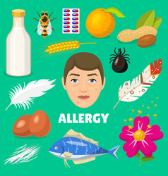 Allergy allergen food and allergic milk egg vector
