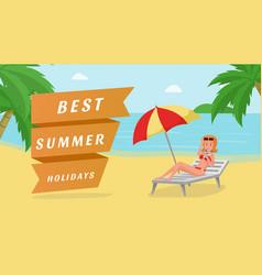 best summer holidays banner template vector image