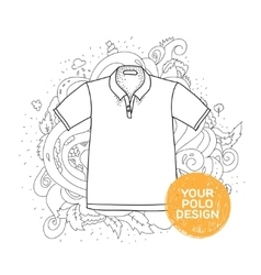 Blank polo design concept Hand drawn style with vector image