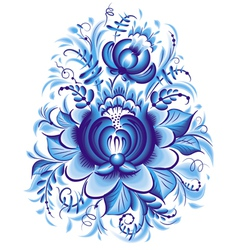 Blue flower in gzhel style vector