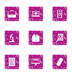 Bookworm icons set grunge style vector