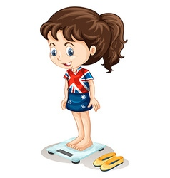British girl weighing on scale vector