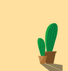 cactus in pot with long shadowcactus in pastel vector image