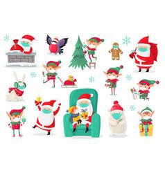 cartoon christmas characters wearing medical masks vector image