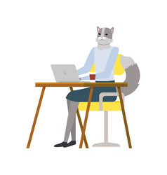 Cat woman character working with laptop vector
