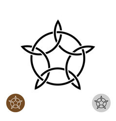 celtic like style linear star with circle symbol vector image