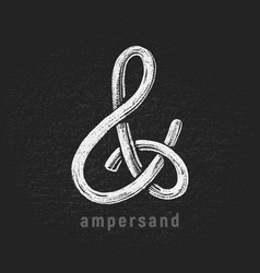 Chalk ampersand hand-drawn on grunge vector