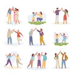 characters joyful give five set gesture of vector image